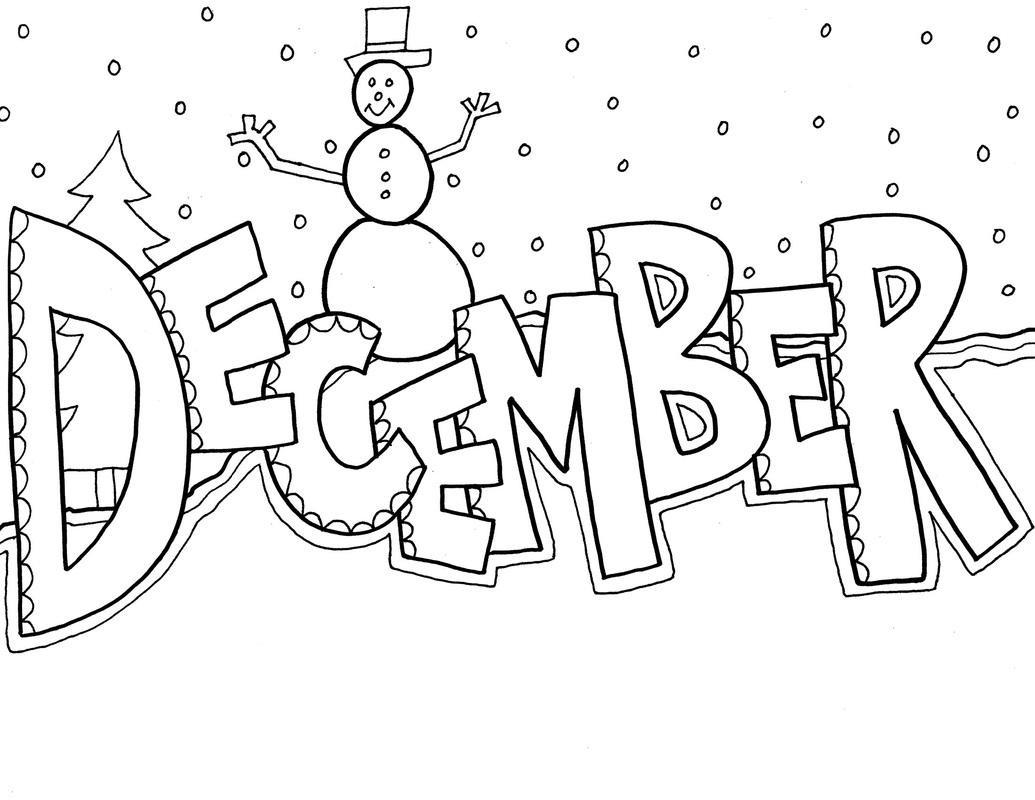 December Clipart Black And White.
