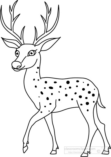 Clipart Of Deer Black And White.