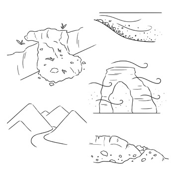Weathering and Erosion Clip Art: Set 1 of 2.