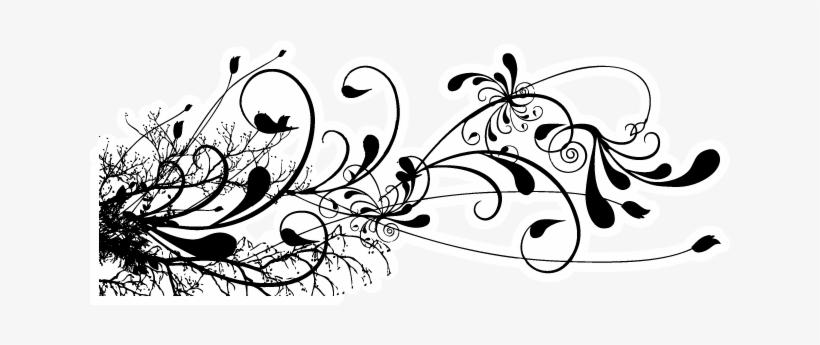 Black Floral Swirl Tattoo Design.