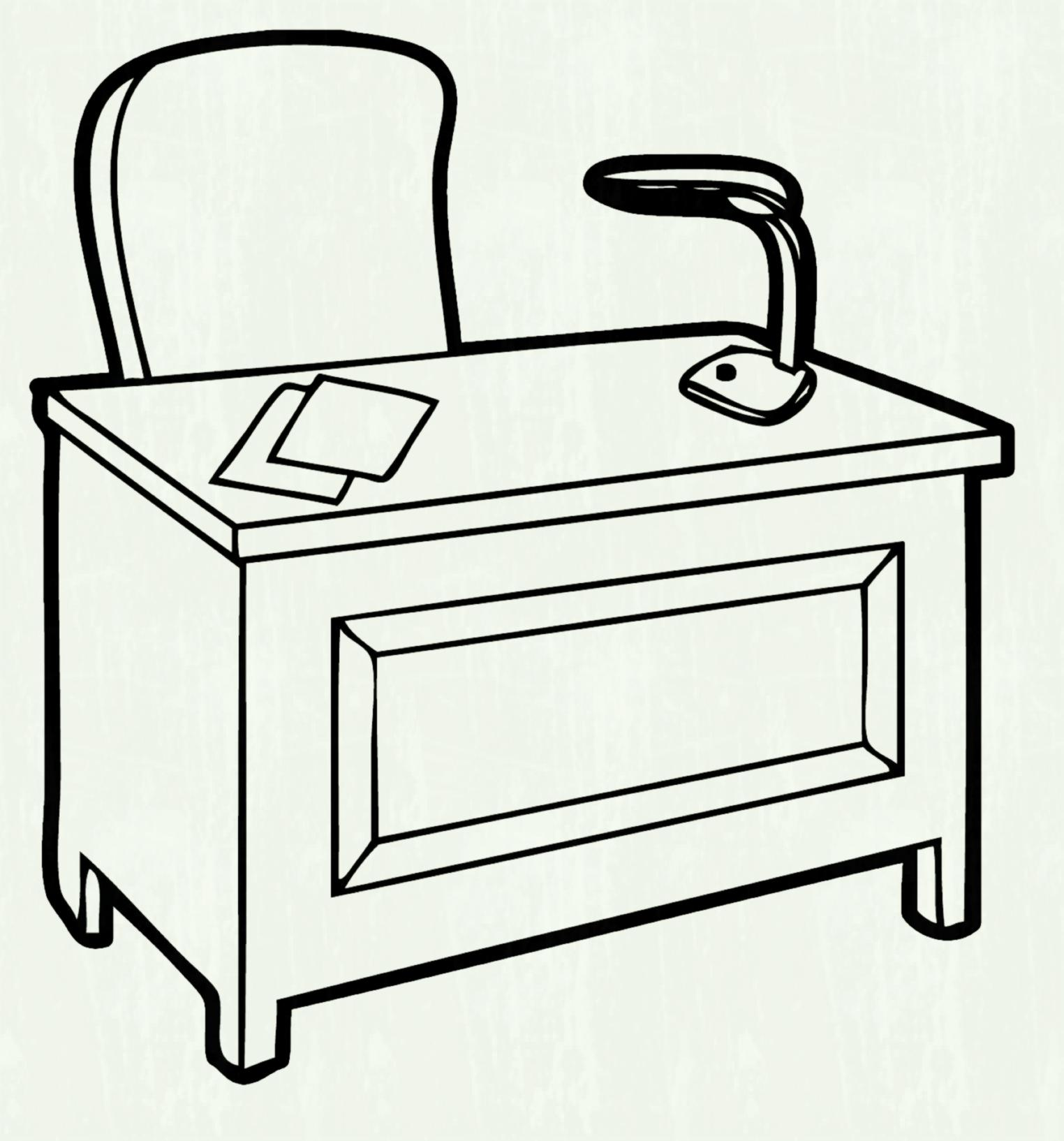 Desk clipart black and white 4 » Clipart Station.