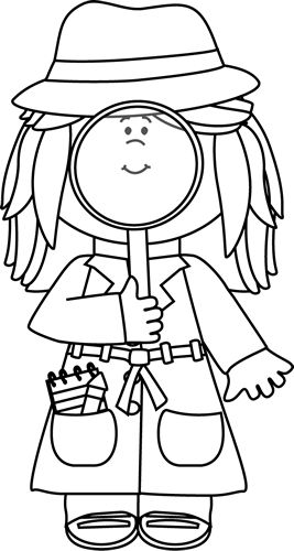 Black and White Little Girl Detective with Cat Clip Art.