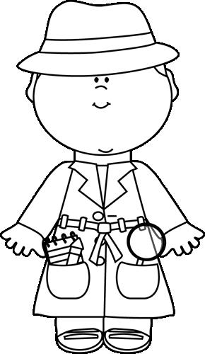 Black and White Detective Clip Art.