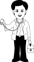 Free Black and White Medical Outline Clipart.