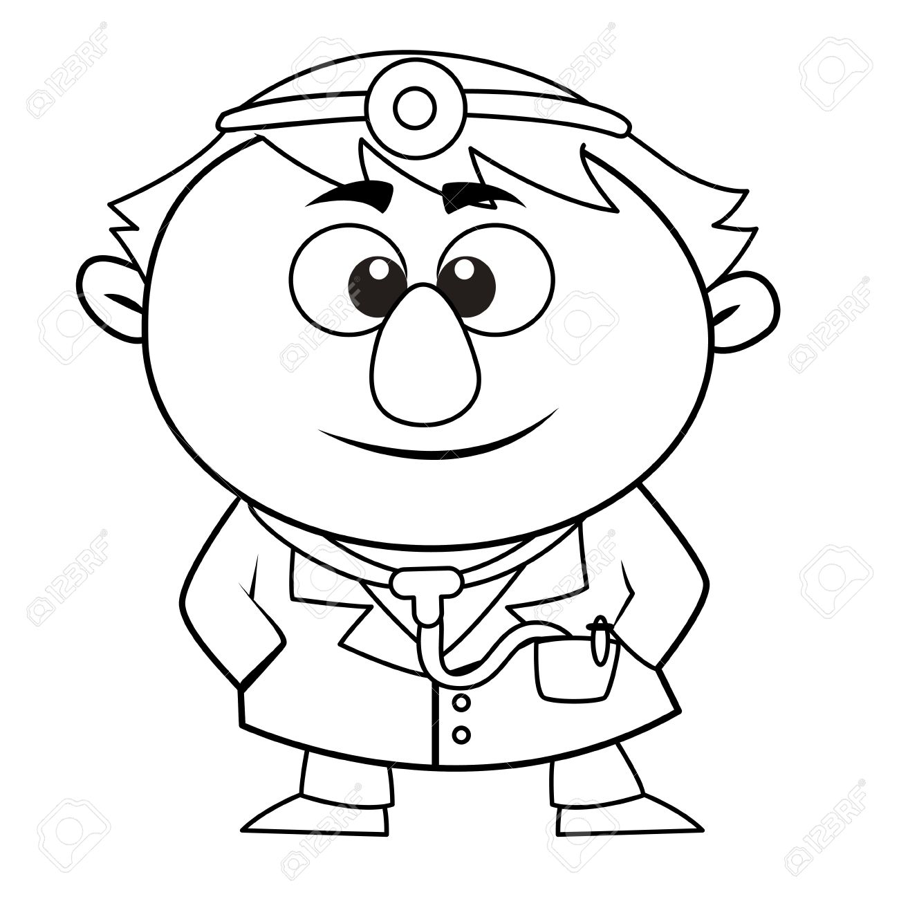 Black And White Coloring Page Outline Of A Doctor Royalty Free.