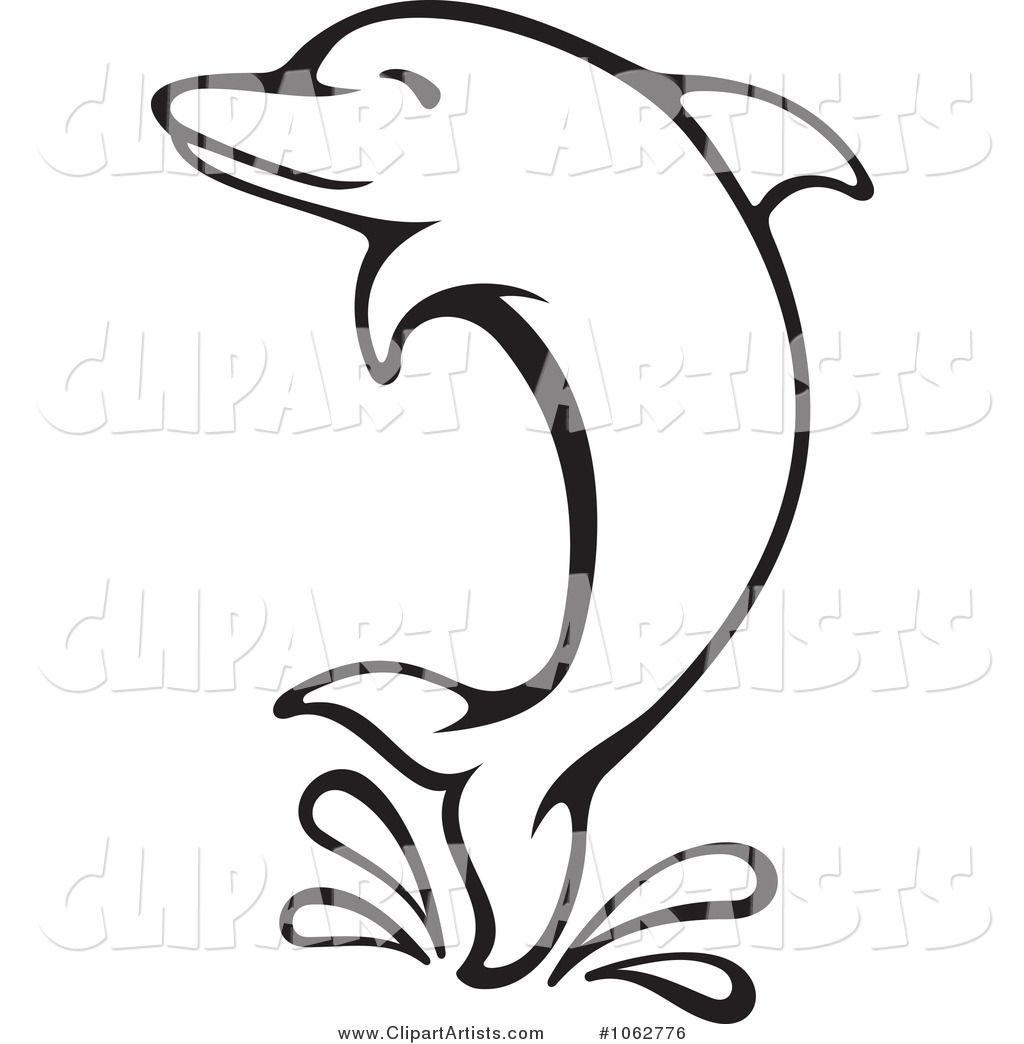 Dolphin Clip Art Black and White.