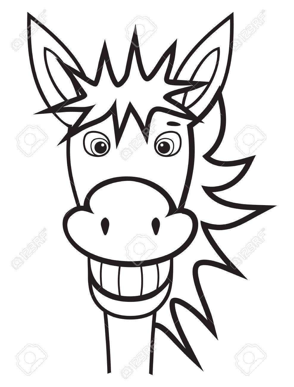 donkey black and white.