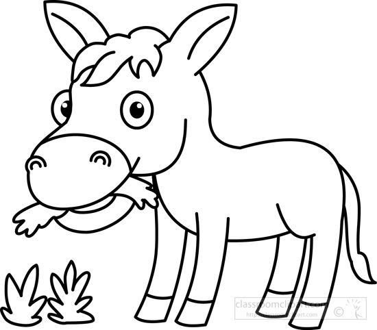 Grass black and white animals clipart donkey eating grass black.