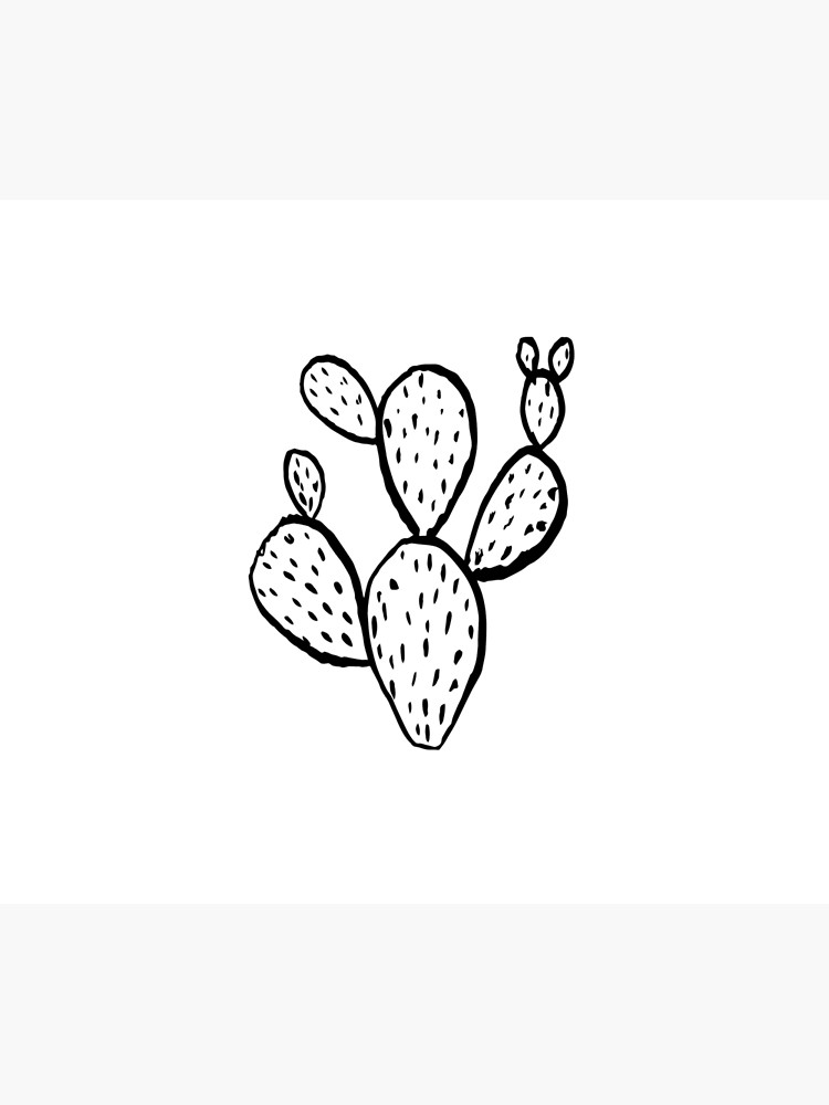 Cactus linocut minimal black and white trendy dorm college art.