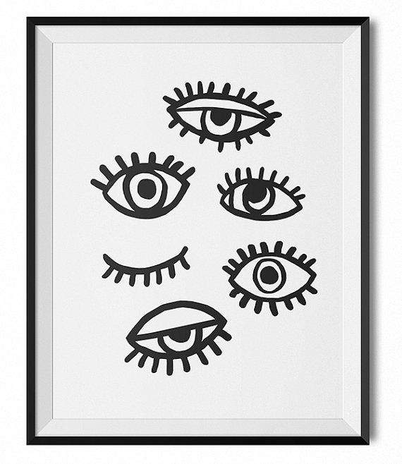 Black and white illustration, red, orange, eyes print.