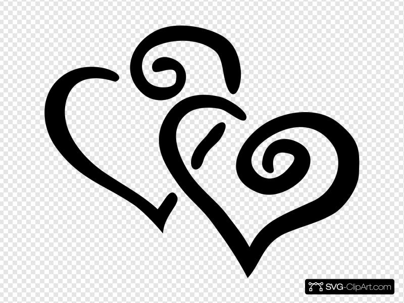 Double Heart Intertwined Black Clip art, Icon and SVG.