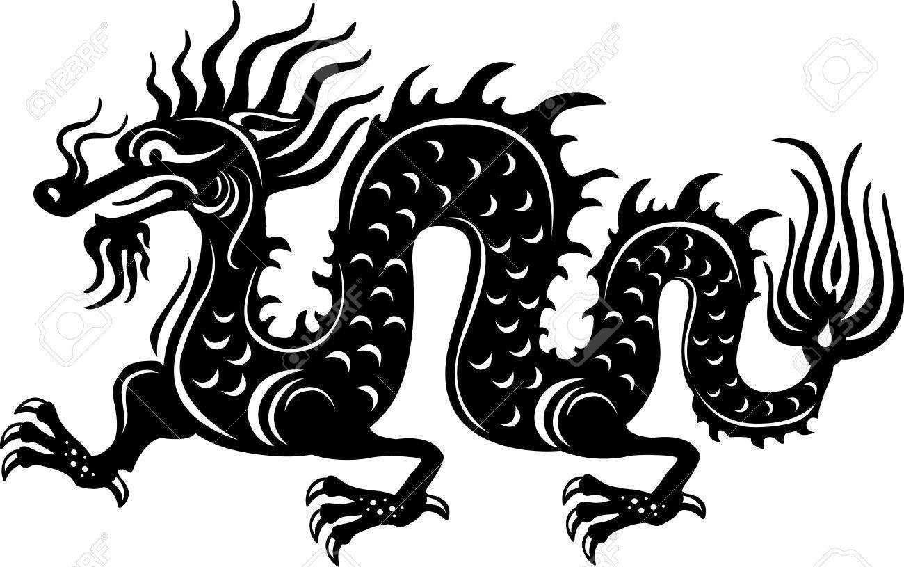 Black and white dragon.