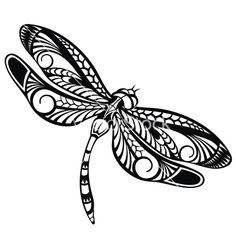 dragonfly clip art black and white.