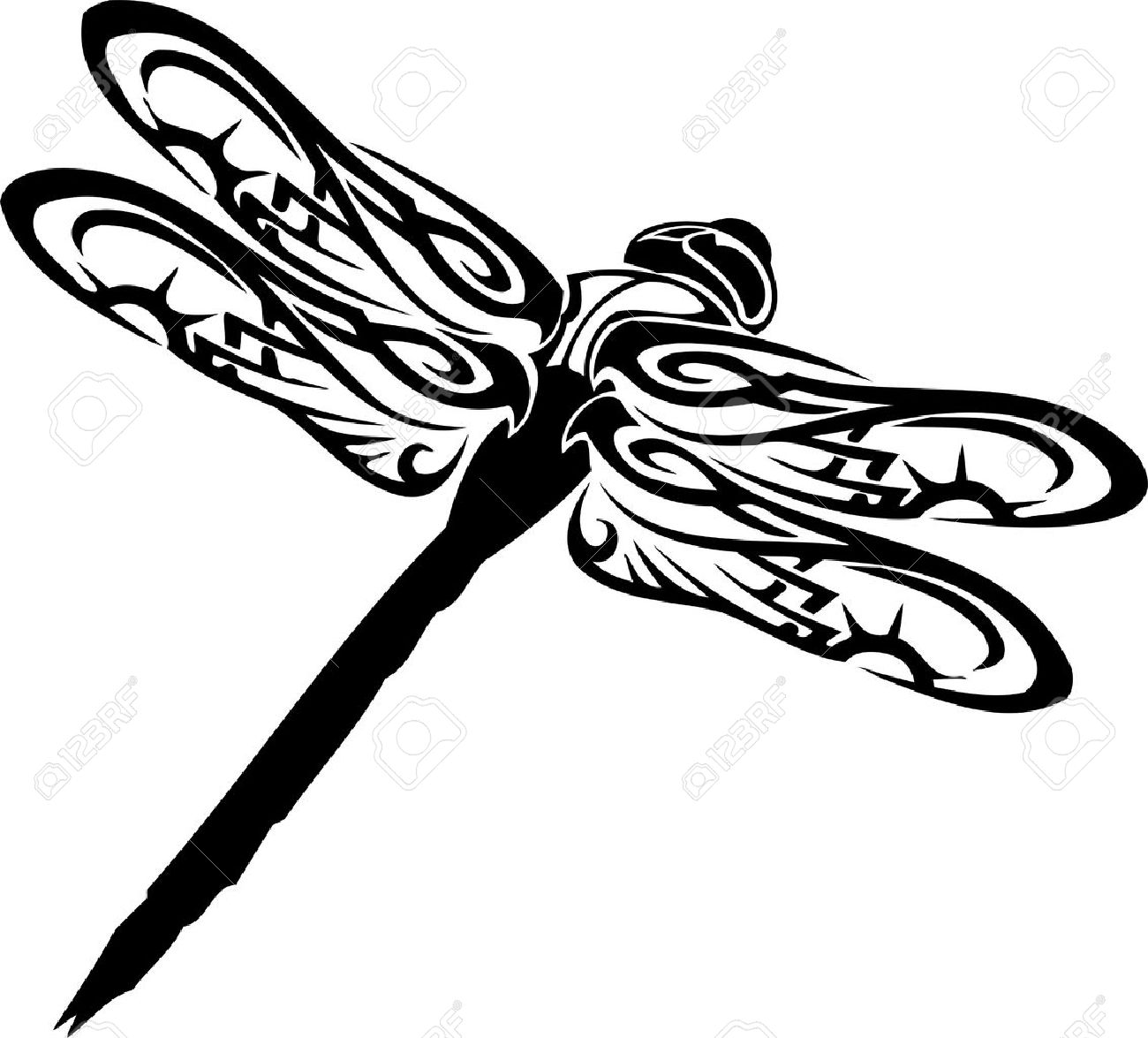 Dragonfly.Vector Illustration Ready For Vinyl Cutting. Royalty.