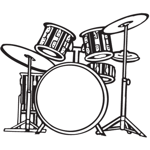Drum Set PNG Black And White Transparent Drum Set Black And.