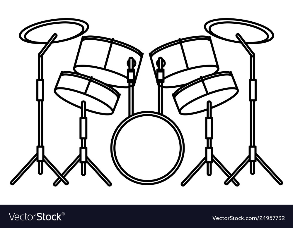 Drums icon cartoon black and white.