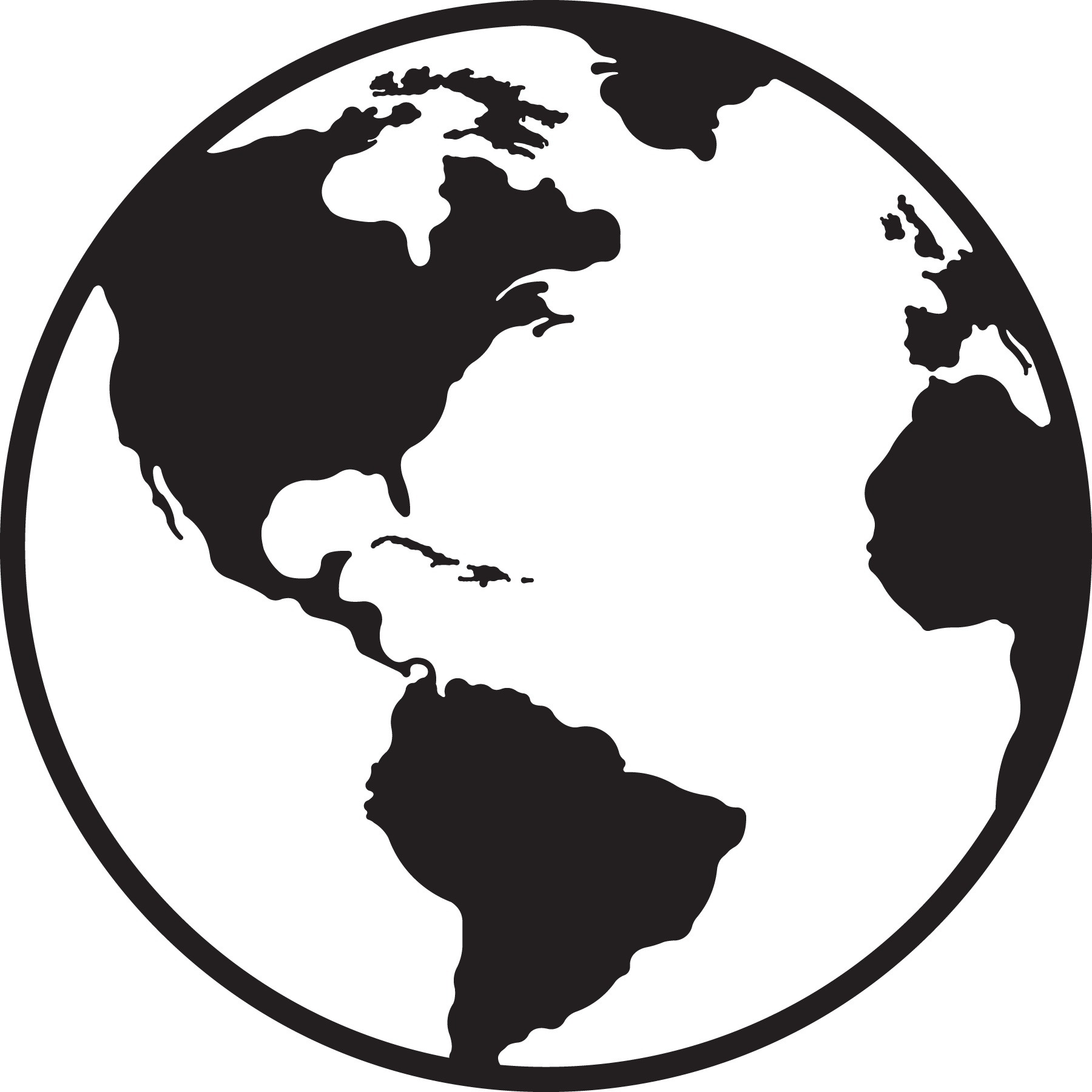 Earth clipart black and white Awesome Globe Clipart Black And White.