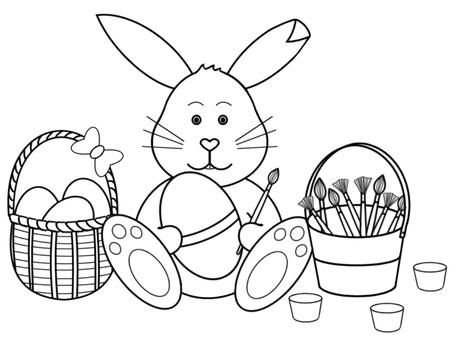Easter Bunny With Eggs Clipart Black and White.