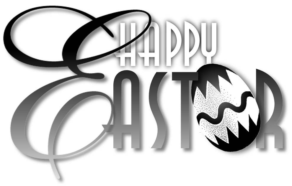Free Black and White Easter Clipart.