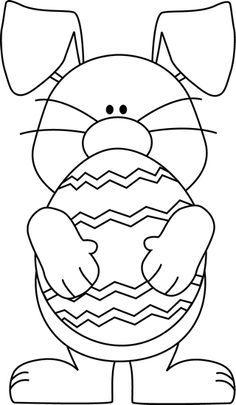 Black And White Easter Bunny Hugging An Easter Egg.