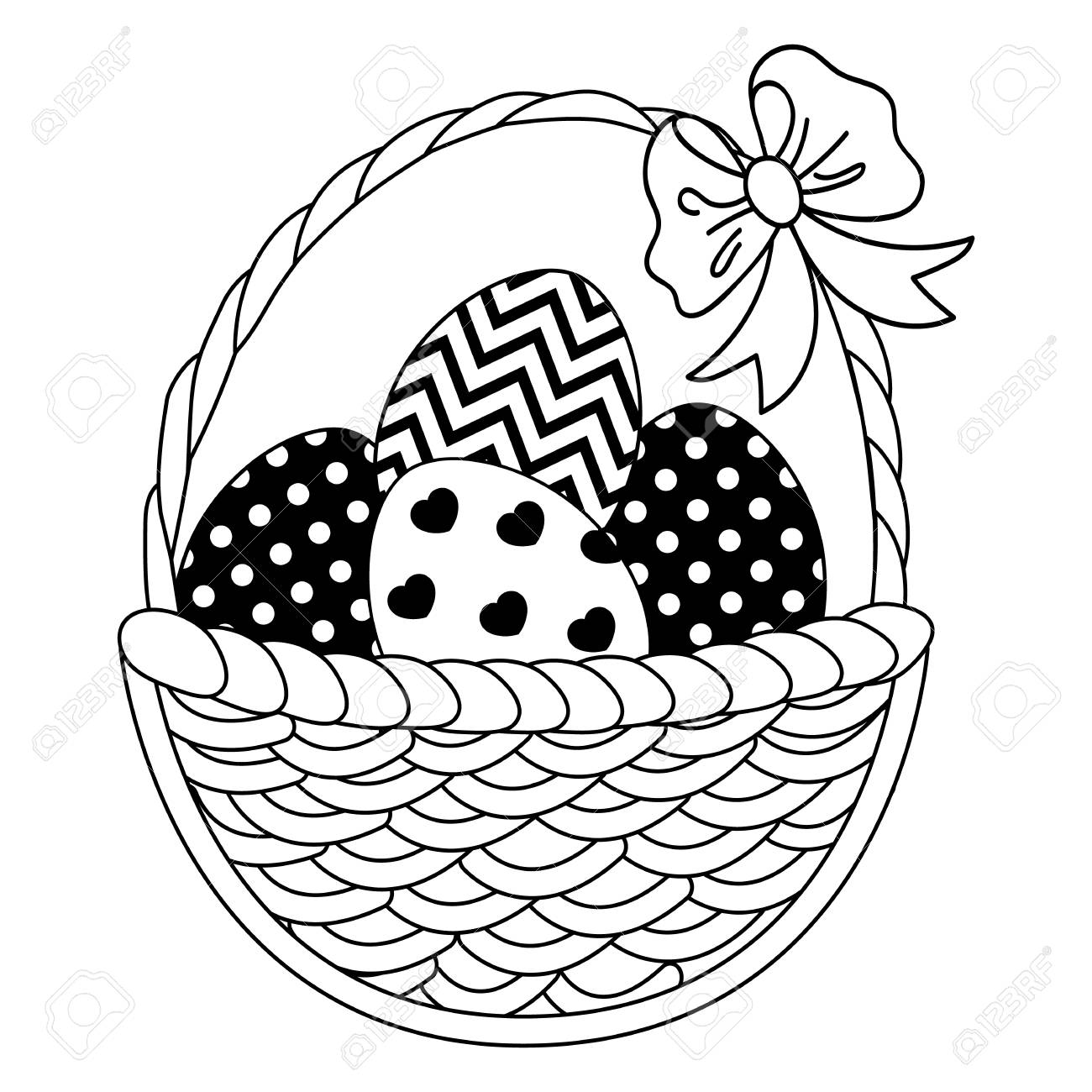 Vector black and white wicker basket with Easter eggs. Vector...