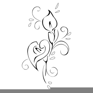 Lovely Lily Line Art Easter Clipart.