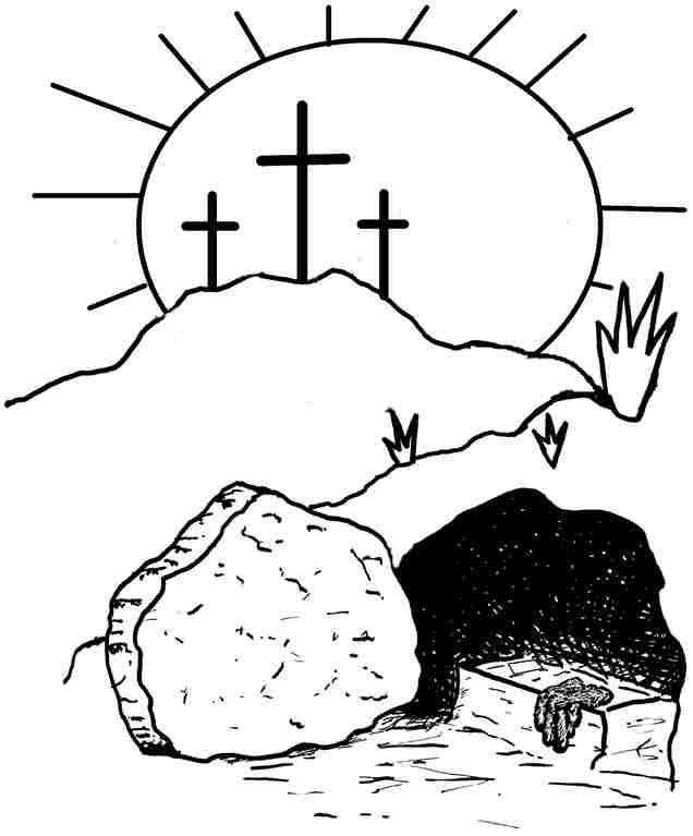 Christian Easter Black And White Clipart.