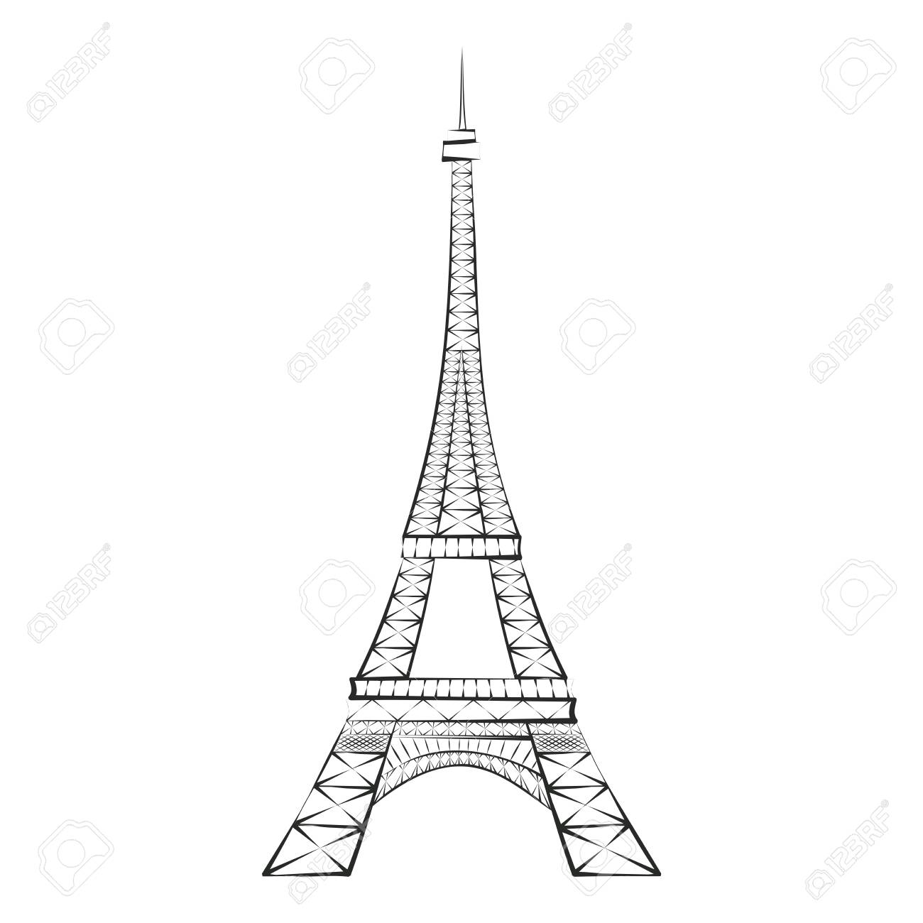 Black silhouette Eiffel Tower, Paris, isolated on white background.