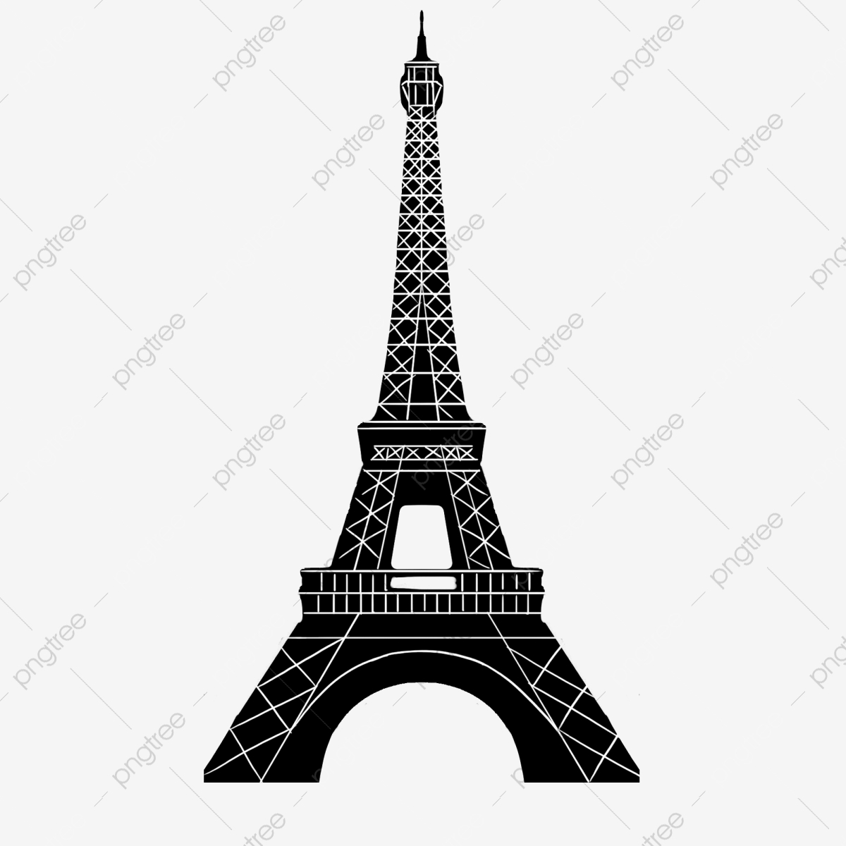 Paris Eiffel Tower Black And White Silhouette Png.