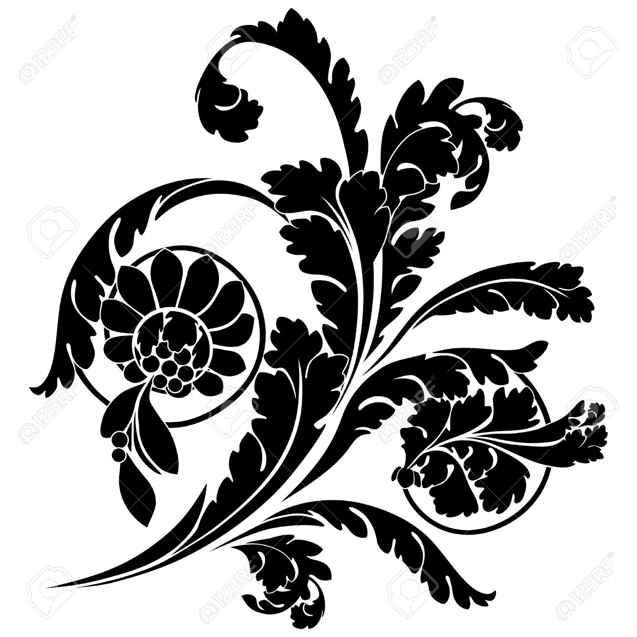 Elegant Black And White Flower Clipart.