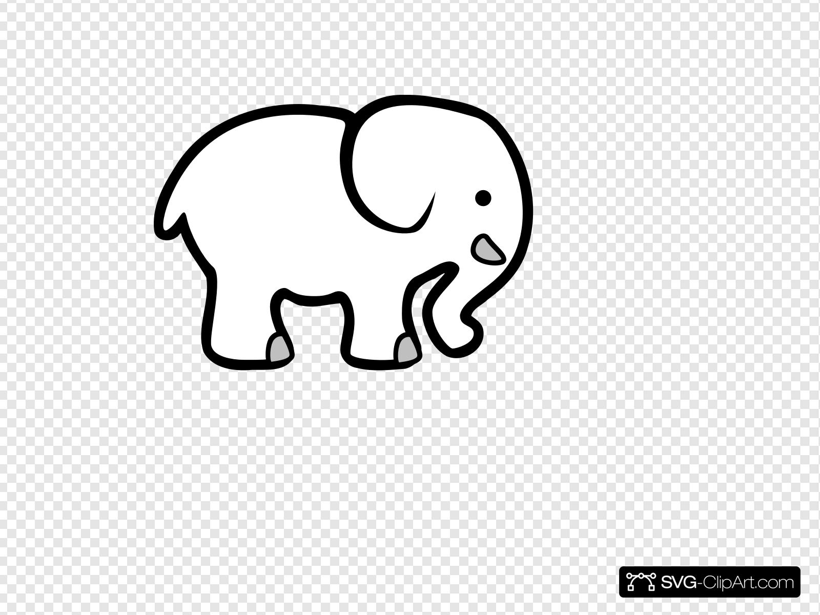 White Elephant Clip art, Icon and SVG.