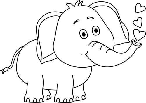 elephants clipart black and white #3