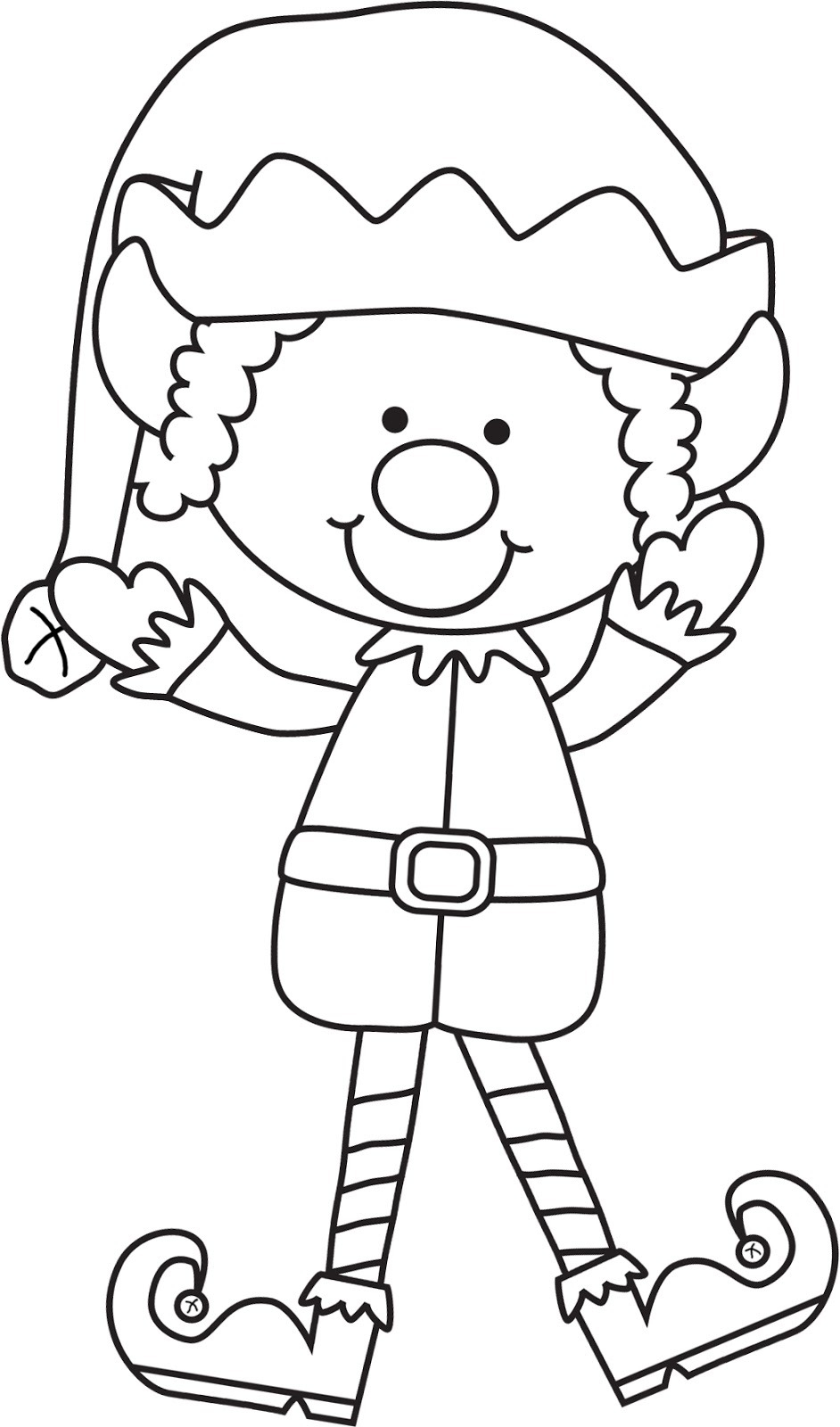 Black And White Elf Clipart.