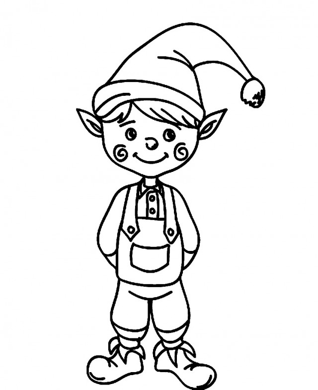 Cute Christmas Elf Clipart Black And White.