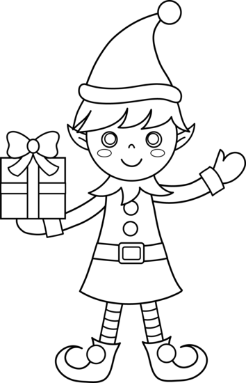 Outline Christmas Elf Clipart Black And White.
