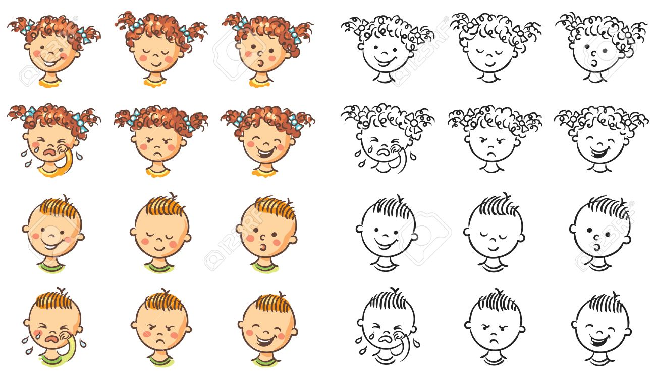 Face Emotions Clipart Black And White.