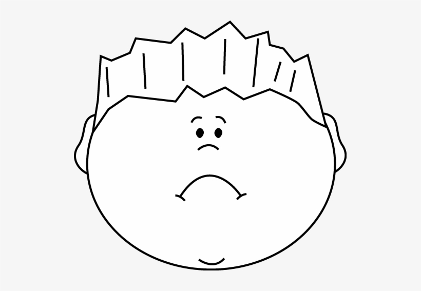 Black And White Sad Face Boy Clip Art.