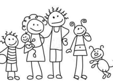 Family black and white family clipart black and white 5 people.