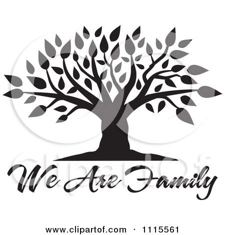 Clipart Black And White Family Tree With Our Roots Run Deep Text.