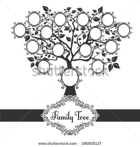 Family Tree With 8 Hearts On It Black And White Clipart.