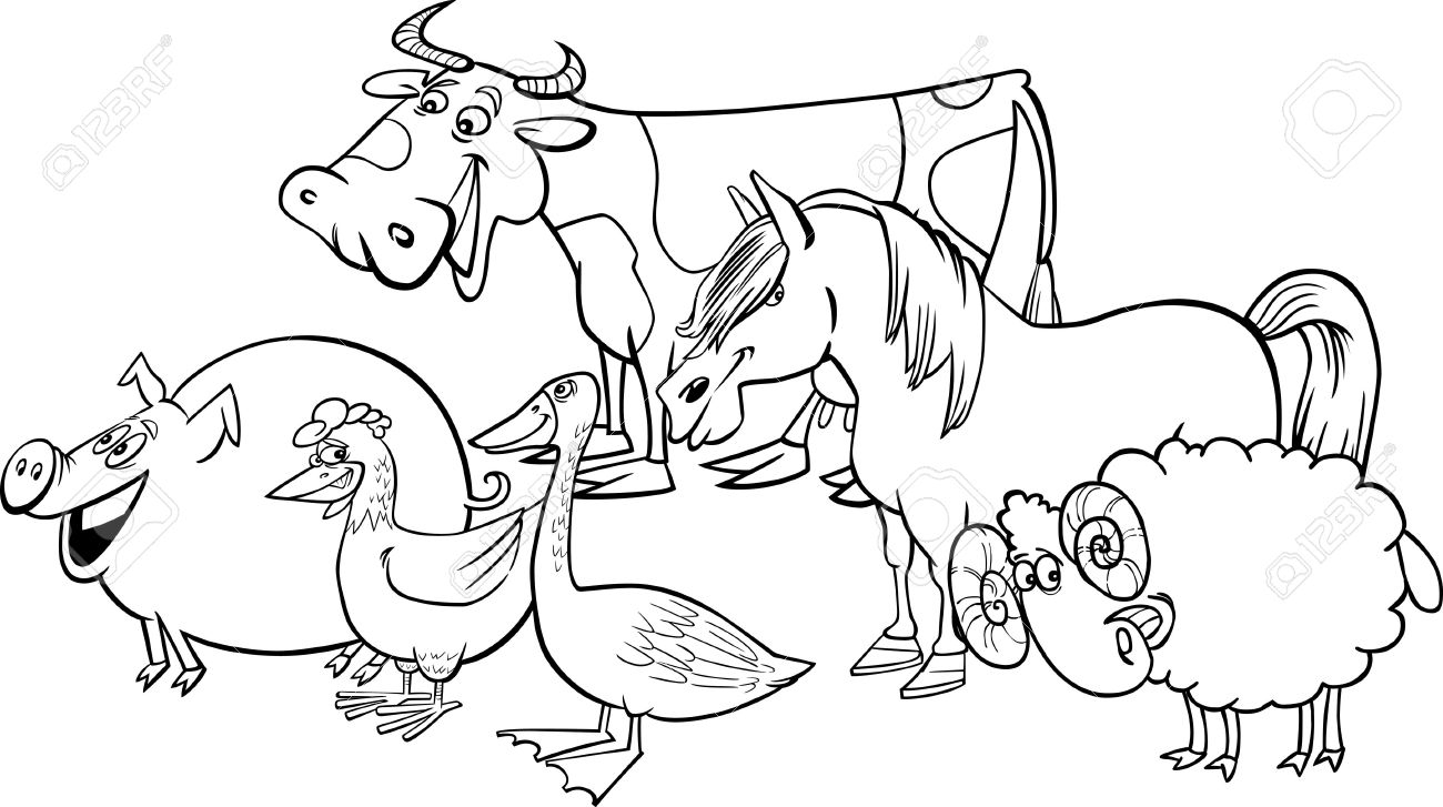 Free Farm Animals Images Black And White, Download Free Clip.