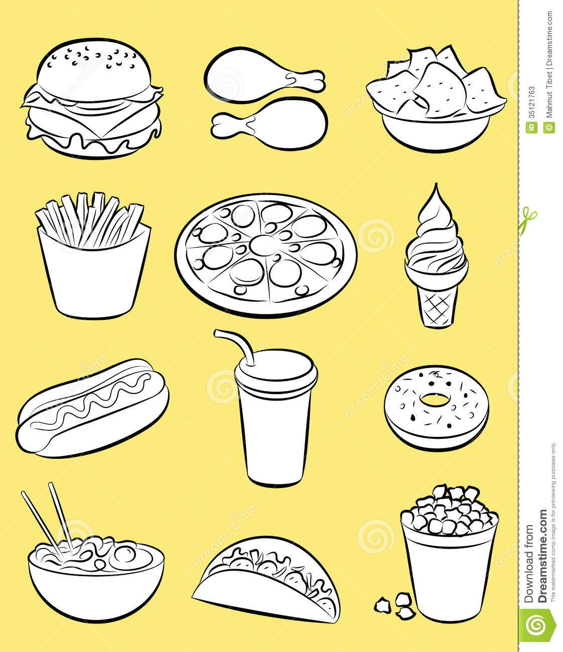 Black And White Fast Food Clipart.