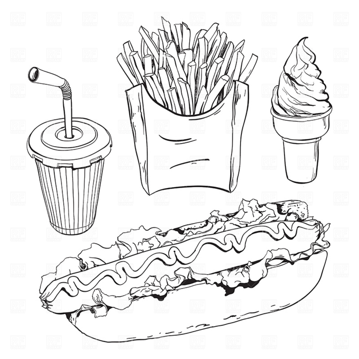 Black And White Fast Food Free Clipart.