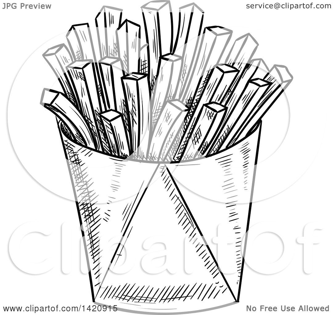 Fast Food Clipart of a Black and White Sketched Container of.