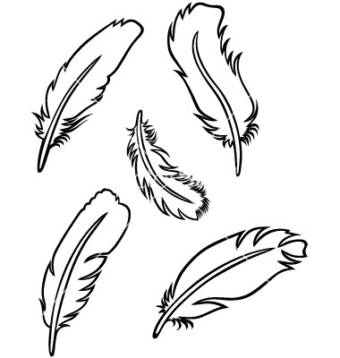 Feather outline clip art.
