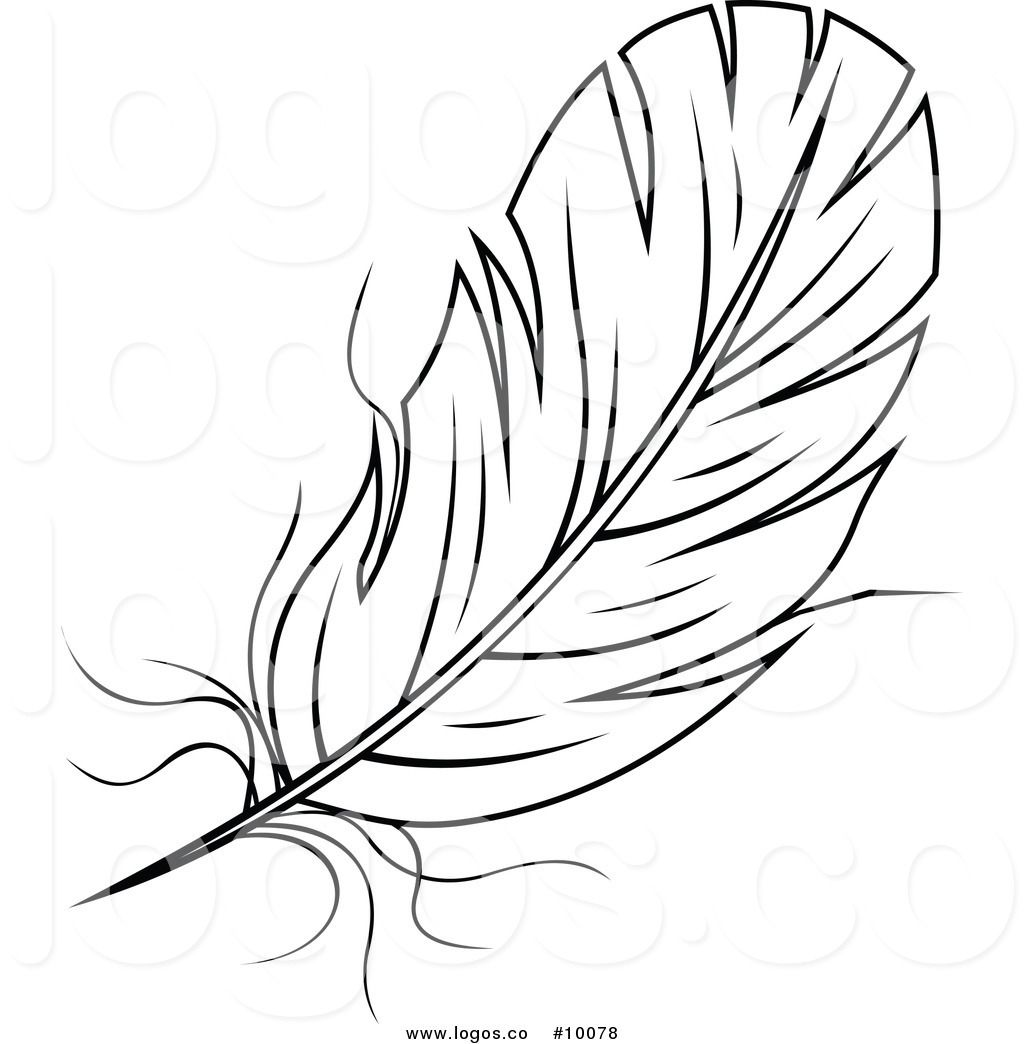 Royalty Free Black and White Feather Stock Logo Designs.
