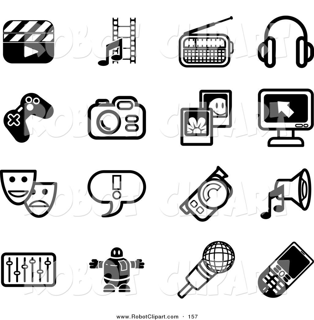Royalty Free Black and White Stock Robot Designs.