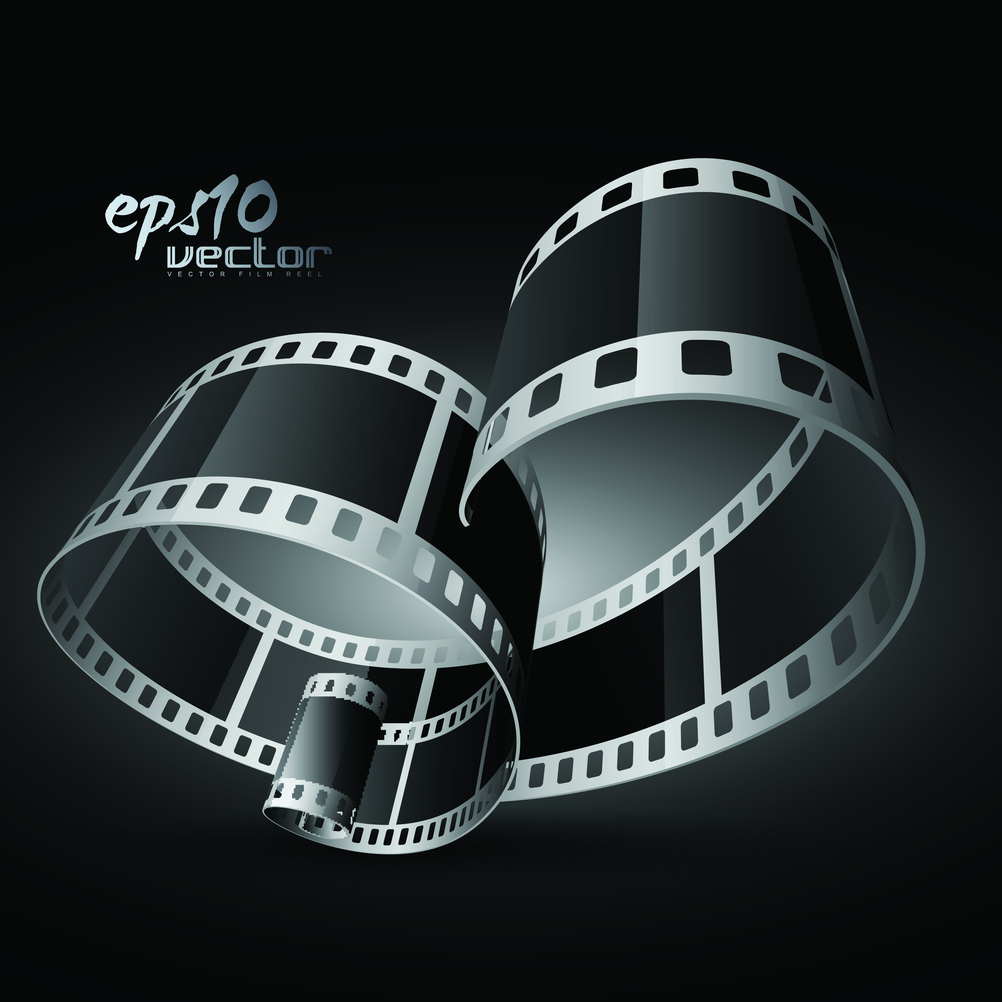 Black and white film clip art 3d 1 Free Vector / 4Vector.