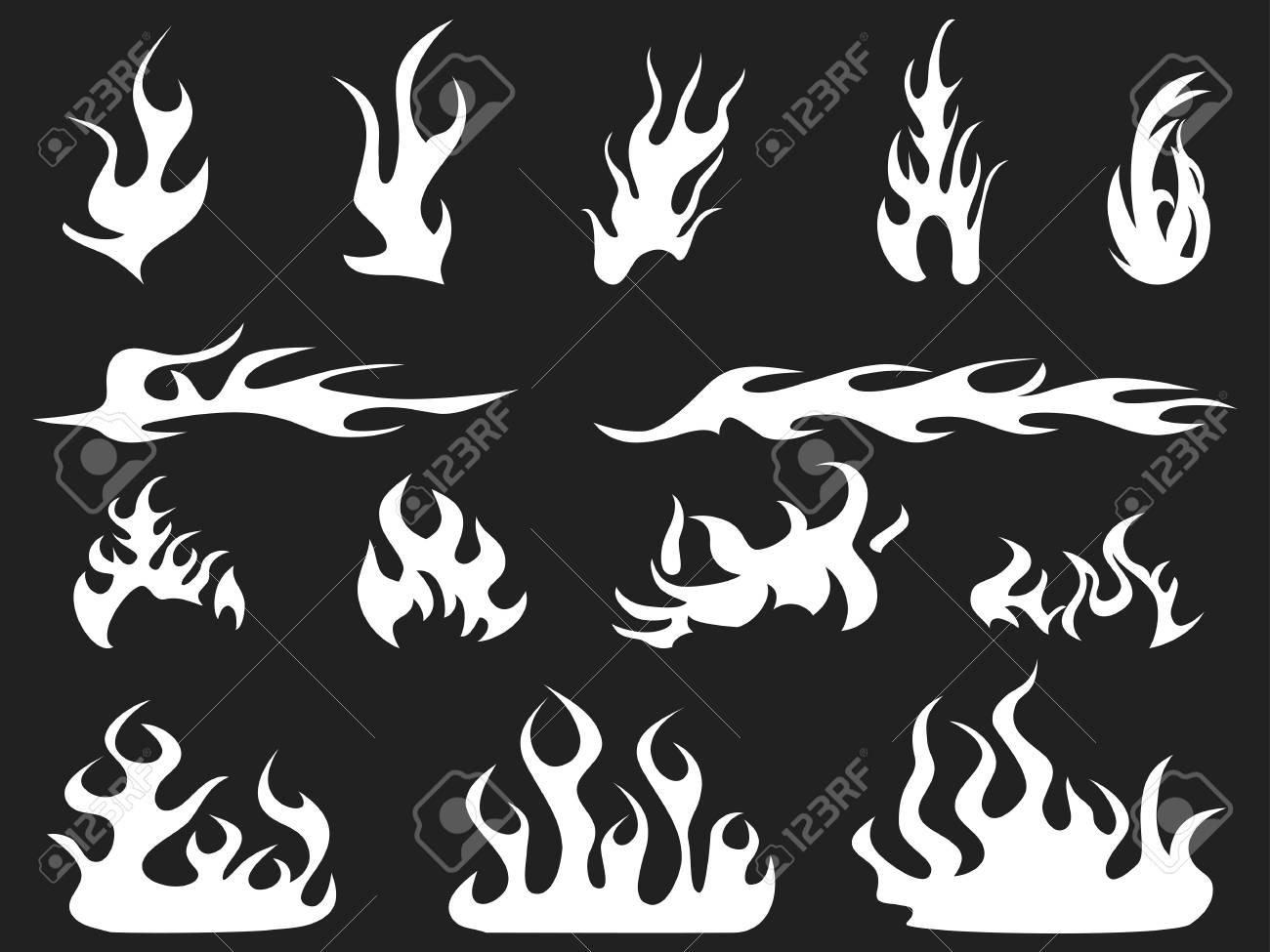 Isolated abstract white fire patterns on black background.