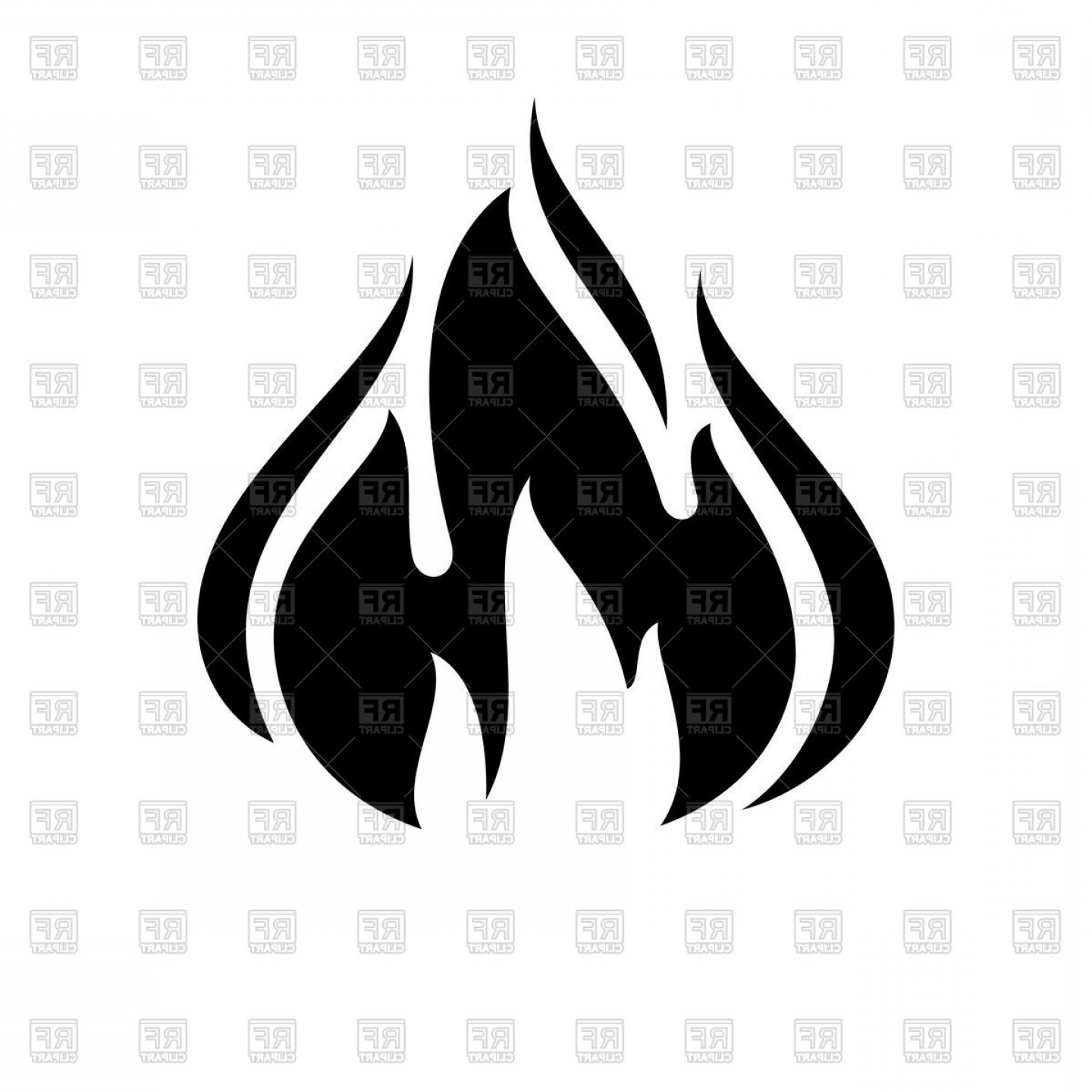 Fire Flame Black Icon Vector Clipart.